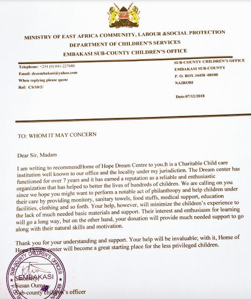 Letter from Childrens officer in Kenya